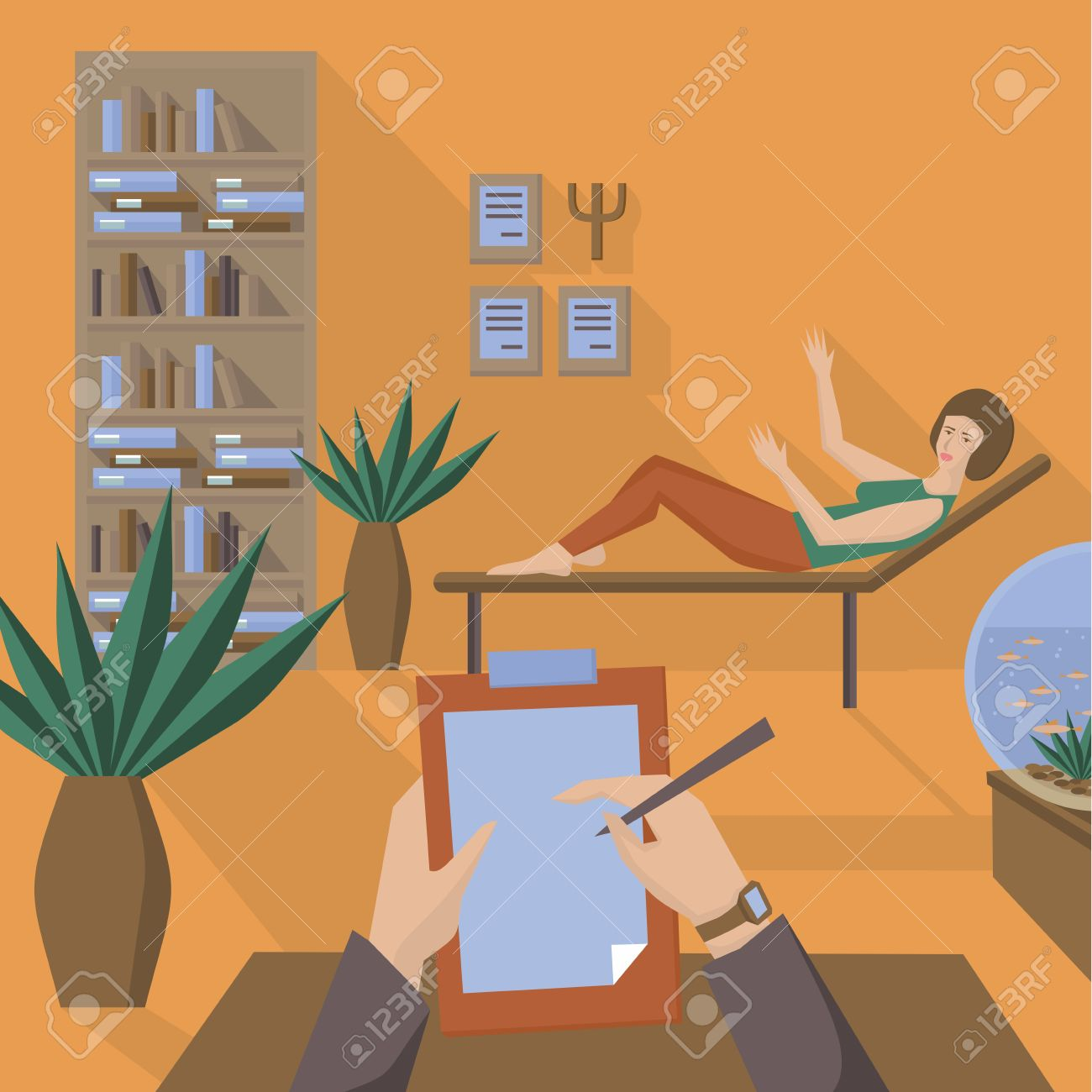 Flat Psychologist Office Flat Girl With Psychological Problems