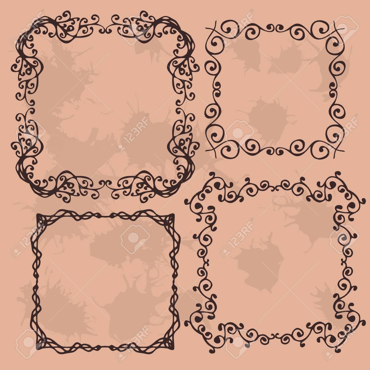 Elementos De Diseño Rústico De La Vendimia De La Flor Del Doodle De ...