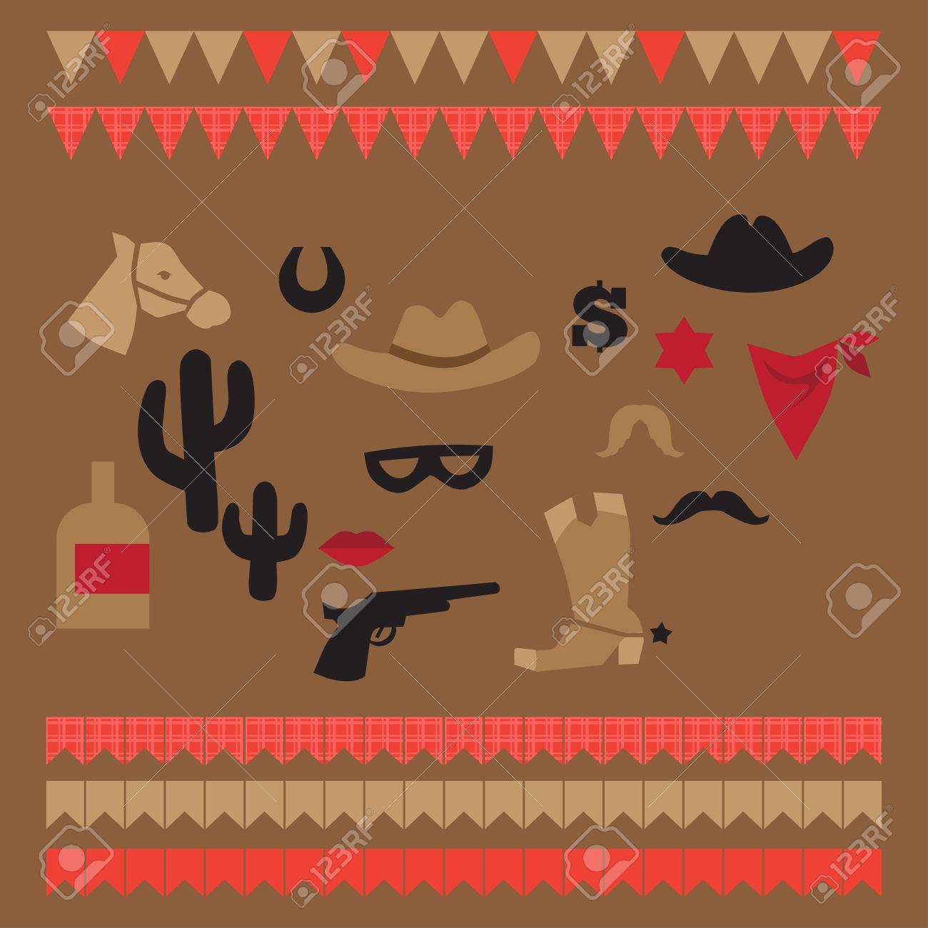 Printable Set Of Vintage Cowboy Party Elements Templates Labels Icons And Wraps Stock