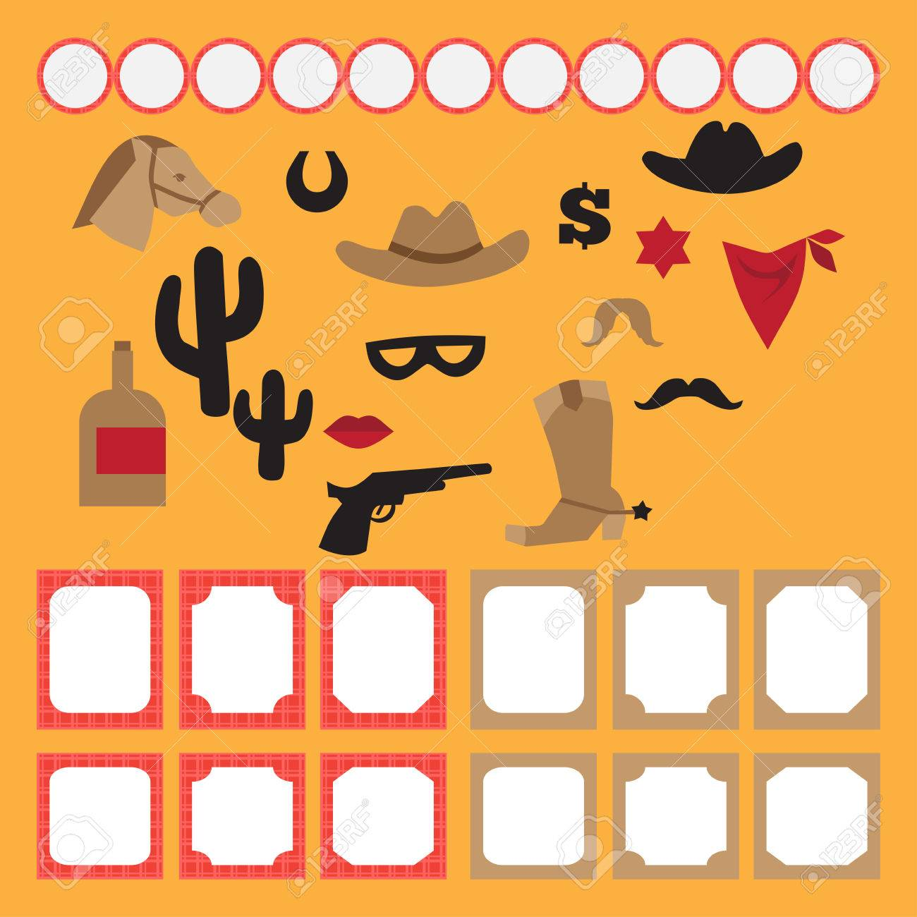 printable set of vintage cowboy party elements templates labels