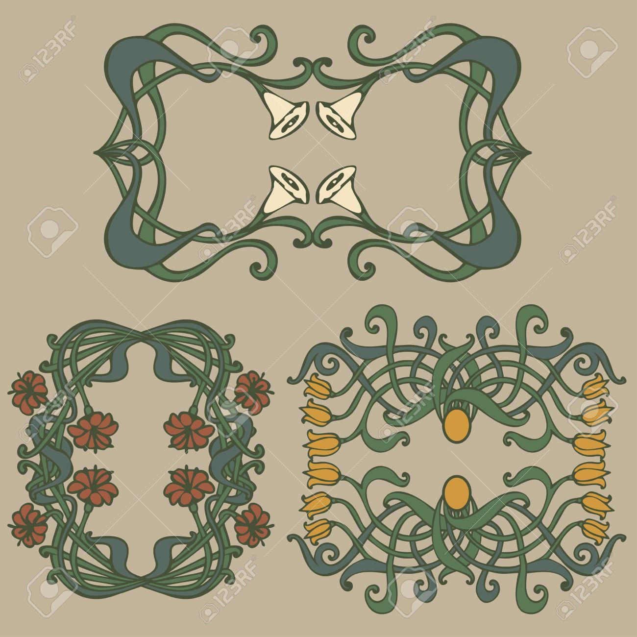 Art deco ornaments - Art Nouveau And Art Deco Floral Ornaments Modern And Jugendstil Vintage Elements Stock Vector