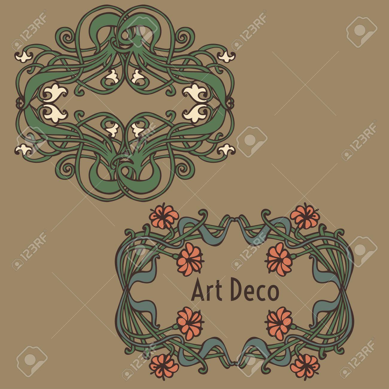 Deco Jugendstil nouveau and deco floral ornaments modern and jugendstil