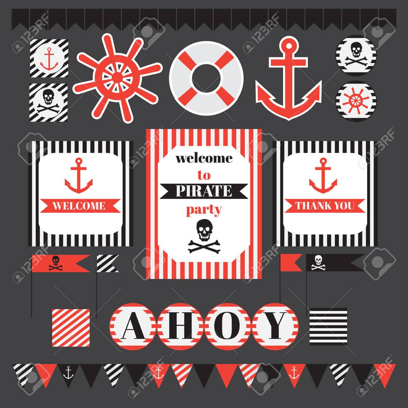 graphic relating to Pirate Party Printable named Printable fixed of traditional pirate celebration materials. Templates, labels,..