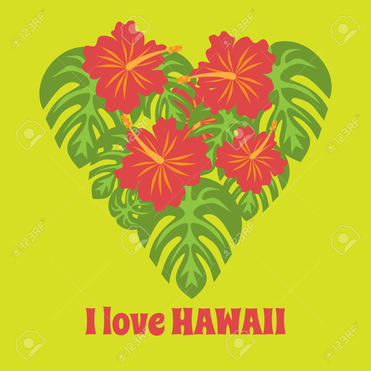 Set Of Tropical Palm Leaves And Flowers Hibiscus Flower Hawaii