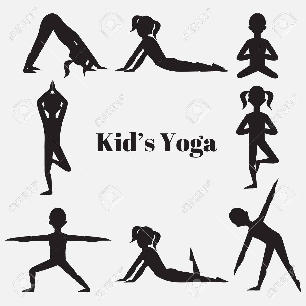 Yoga Kids Silhouette Set Gymnastics For Children And Healthy Royalty Free Cliparts Vectors And Stock Illustration Image 55971300