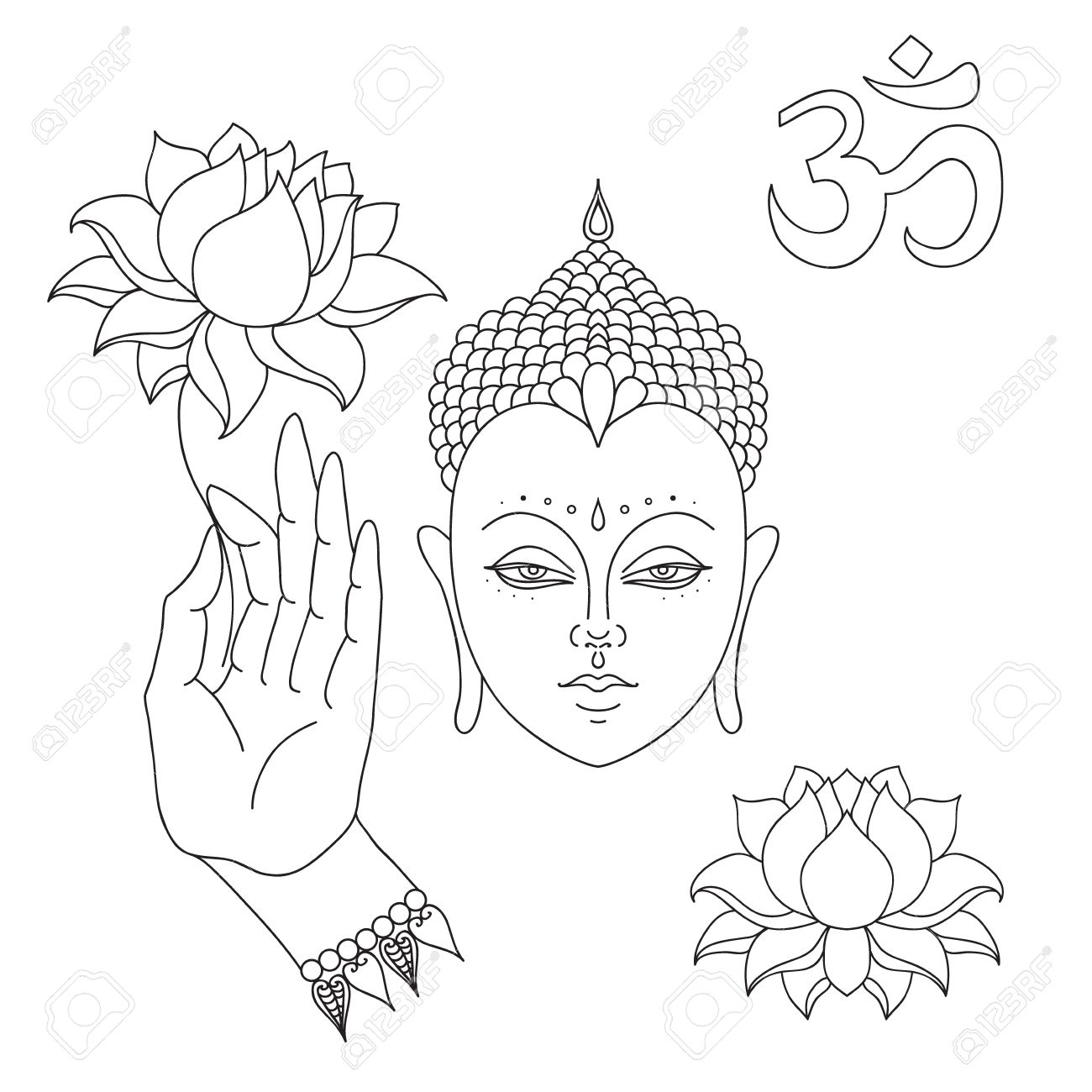 Head Of Buddha Om Sign Hand Drawn Buddha Hand With Lotus Flower