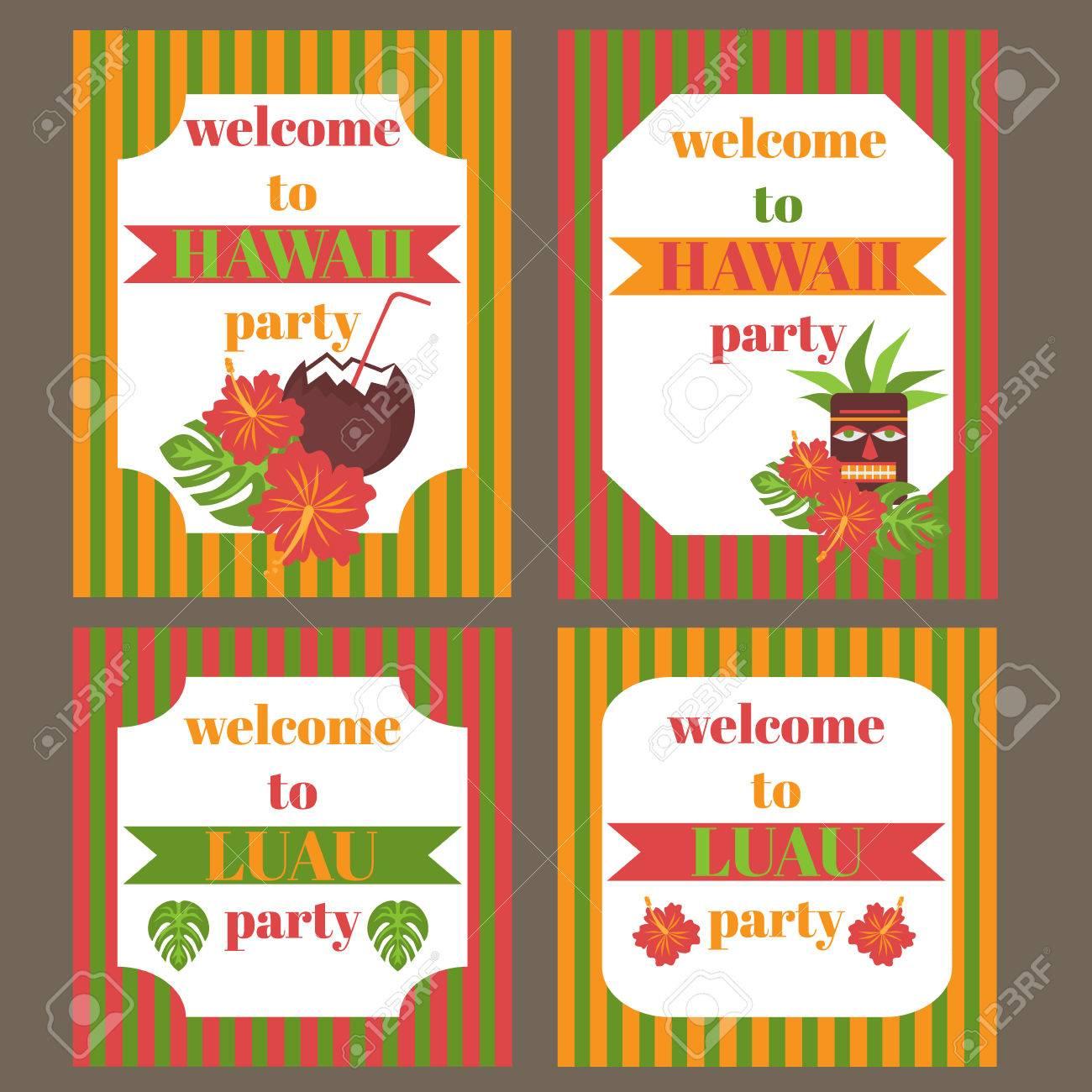 printable set of hawaii party elements template luau invitation