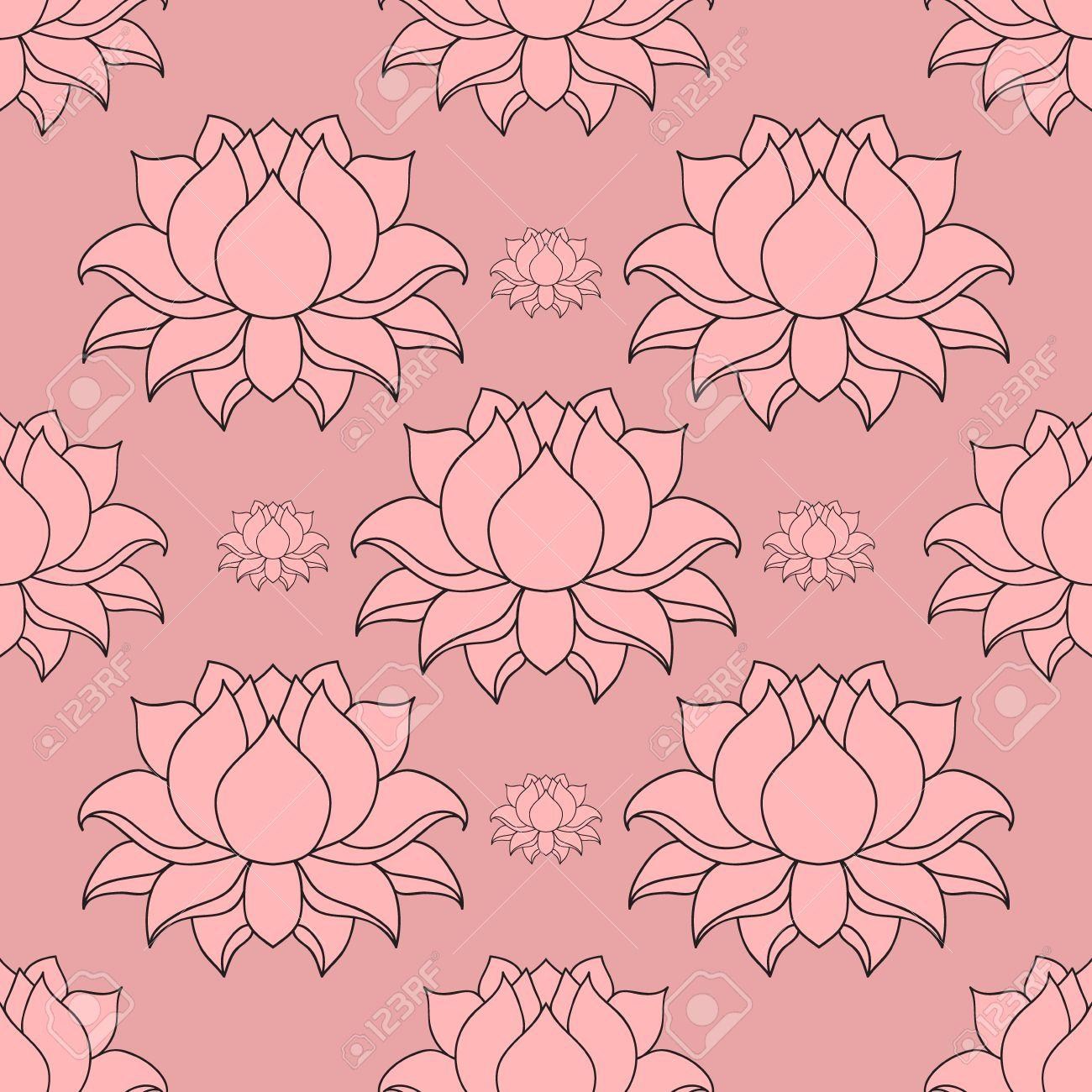 Beautiful detailed lined lotus flower vintage decorative elements beautiful detailed lined lotus flower vintage decorative elements indian hindu motifs seamless pattern dhlflorist Gallery