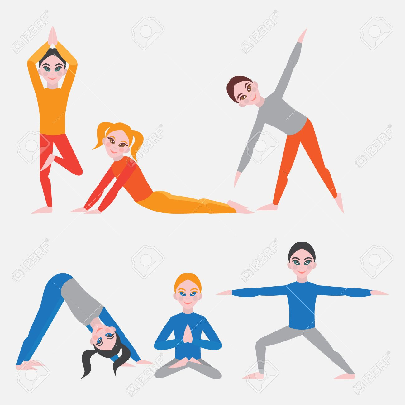 Yoga Kids Set Gymnastics For Children And Healthy Lifestyle Royalty Free Cliparts Vectors And Stock Illustration Image 56501401
