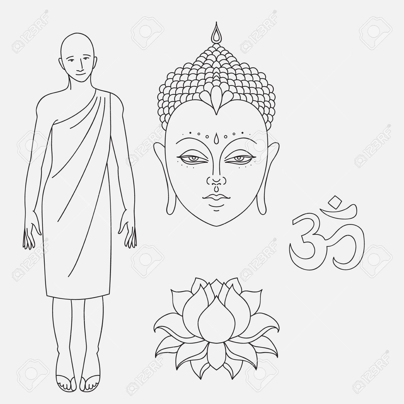 Head Of Buddha Om Sign Outline Buddhist Monk Hand Drawn Lotus