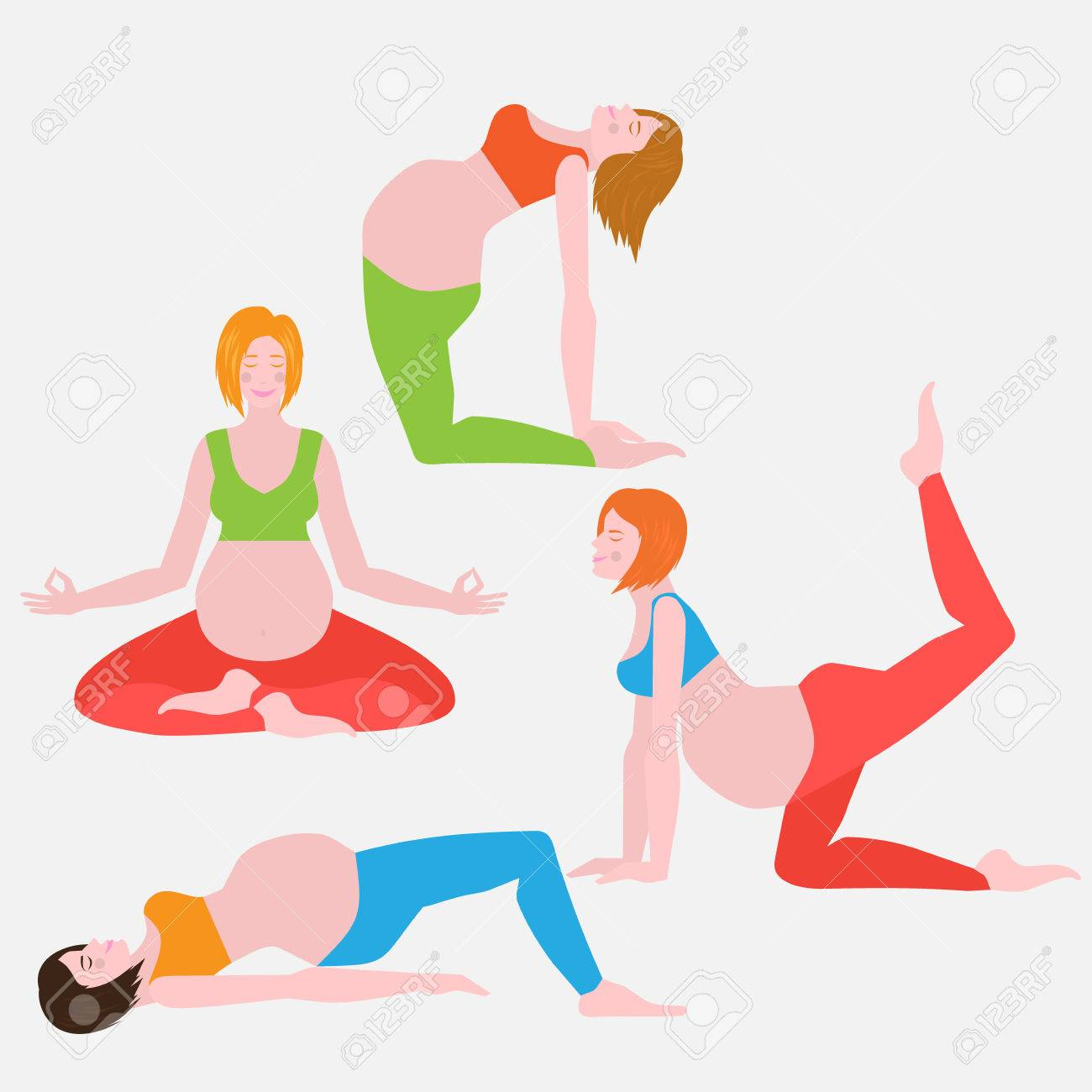 Yoga Poses For Pregnant Women Future Mother Healthy Lifestyle Royalty Free Cliparts Vectors And Stock Illustration Image 66400170