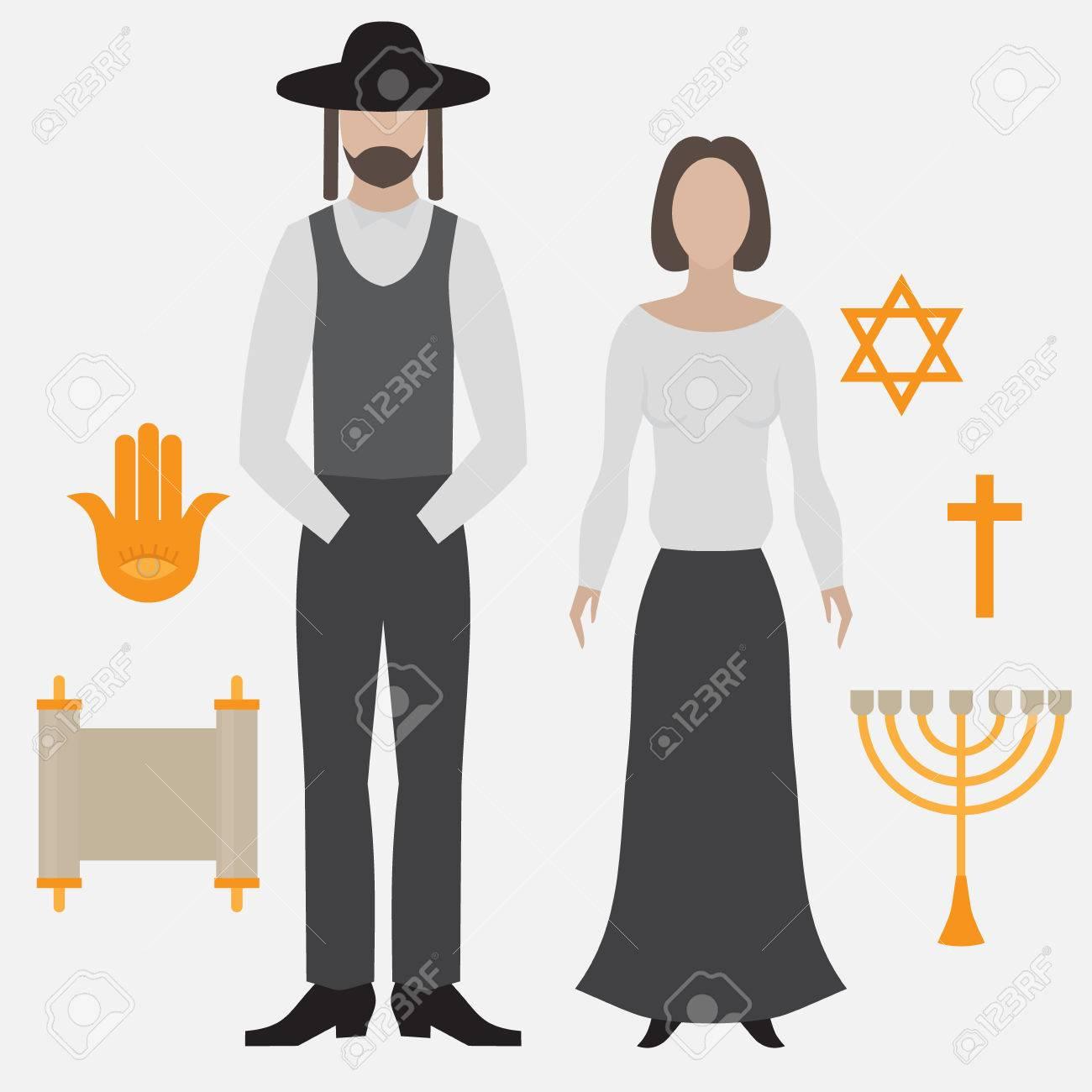 Orthodox jew man and woman flat icon symbols of judaism minora orthodox jew man and woman flat icon symbols of judaism minora david star biocorpaavc