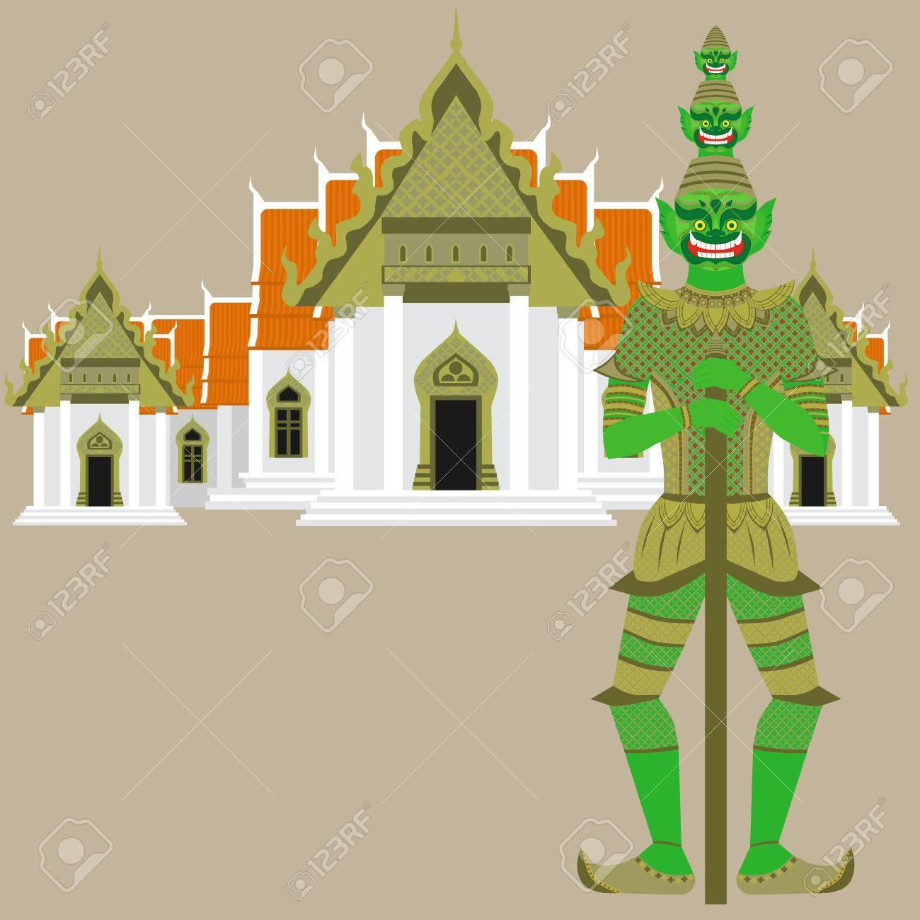 Thai Temple Guardian Giant Thailand Yaksha Demon Statue Buddhism