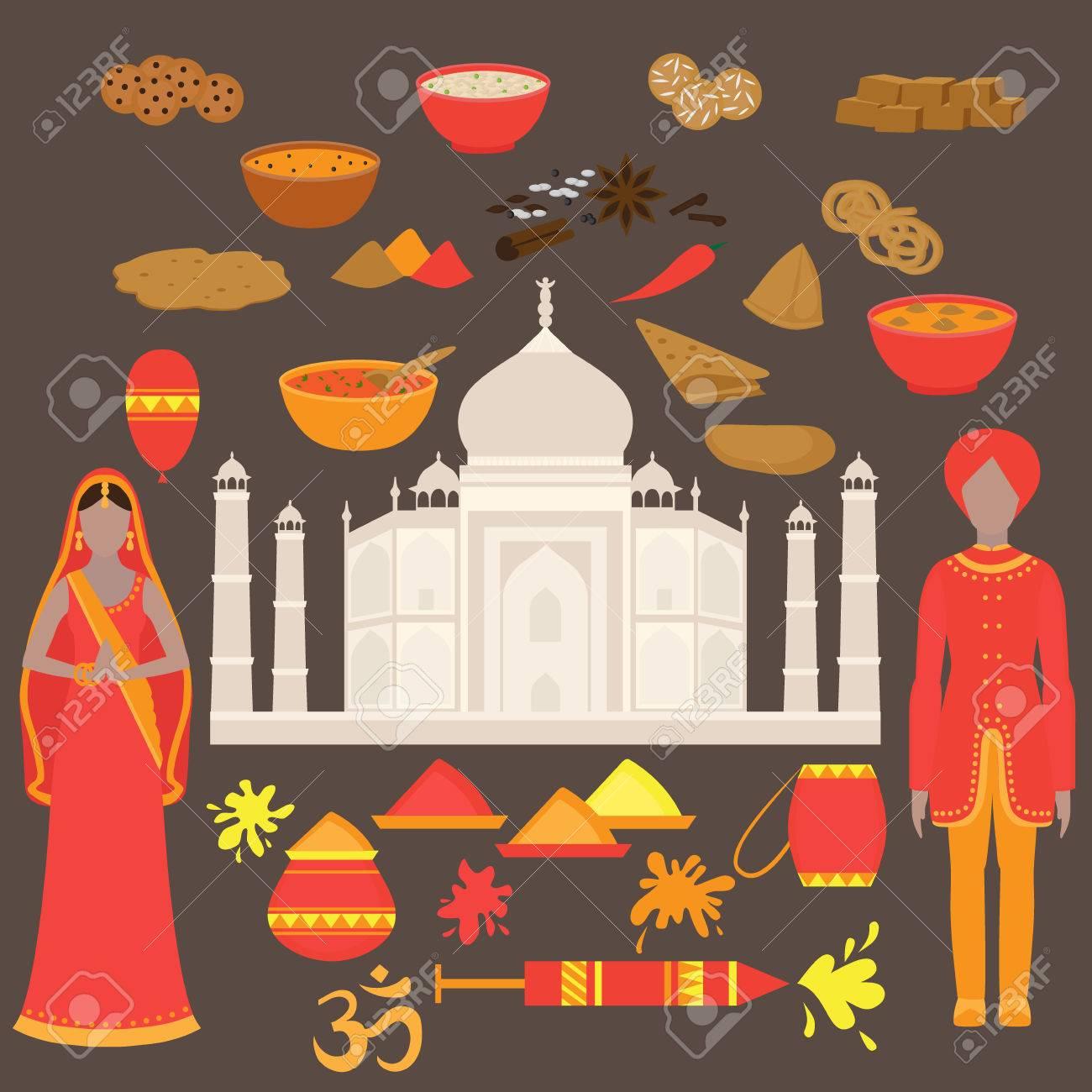 India Set. Hinduism Design Elements. South Asia Beautiful Woman ...