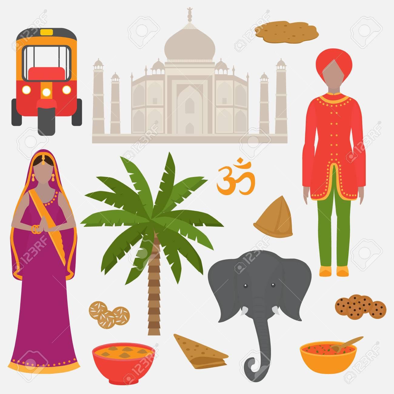 India Conjunto De Símbolos. Elementos De Diseño Hinduismo. Sur De ...