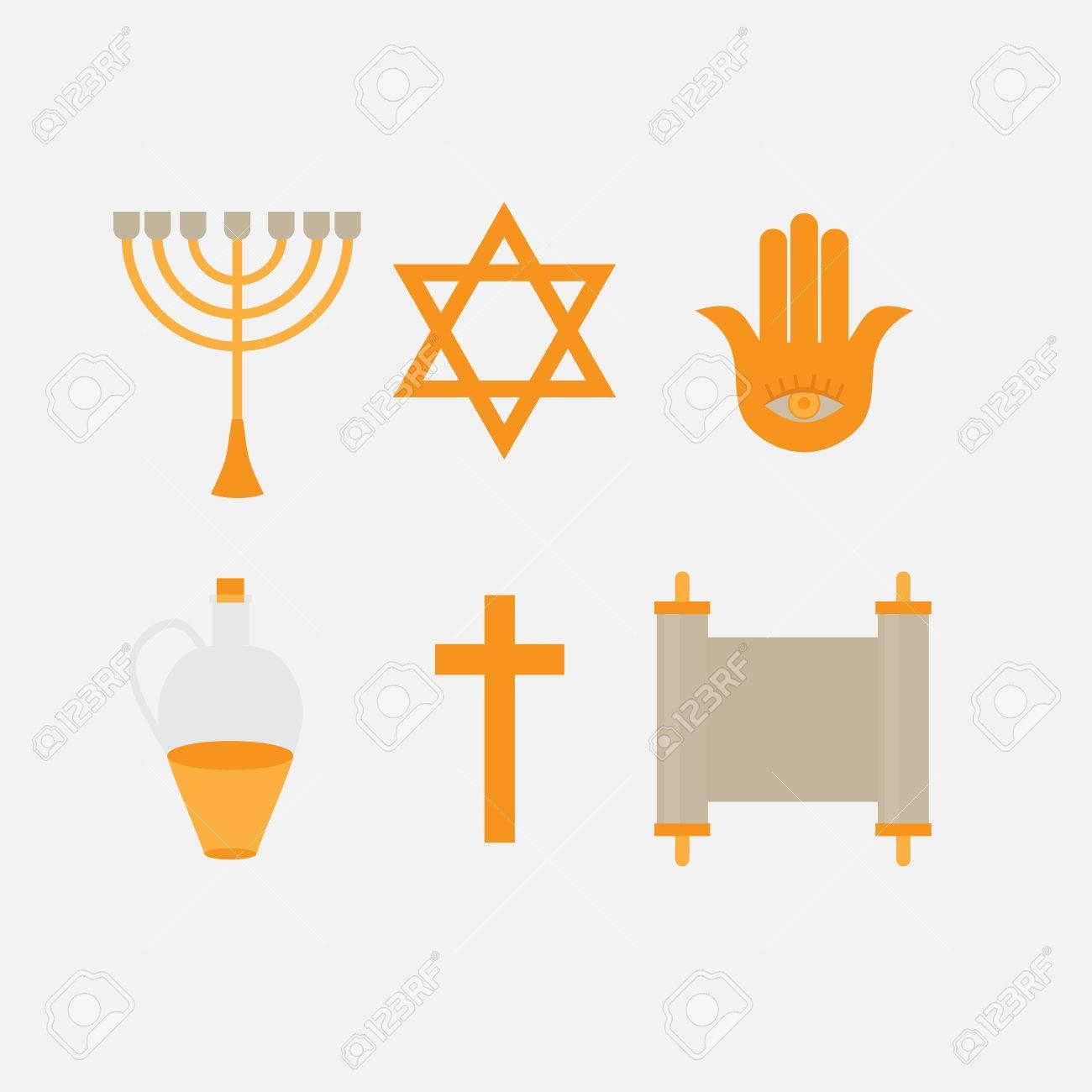 Flat Icon Symbols Of Judaism Minora David Star Anchovy And