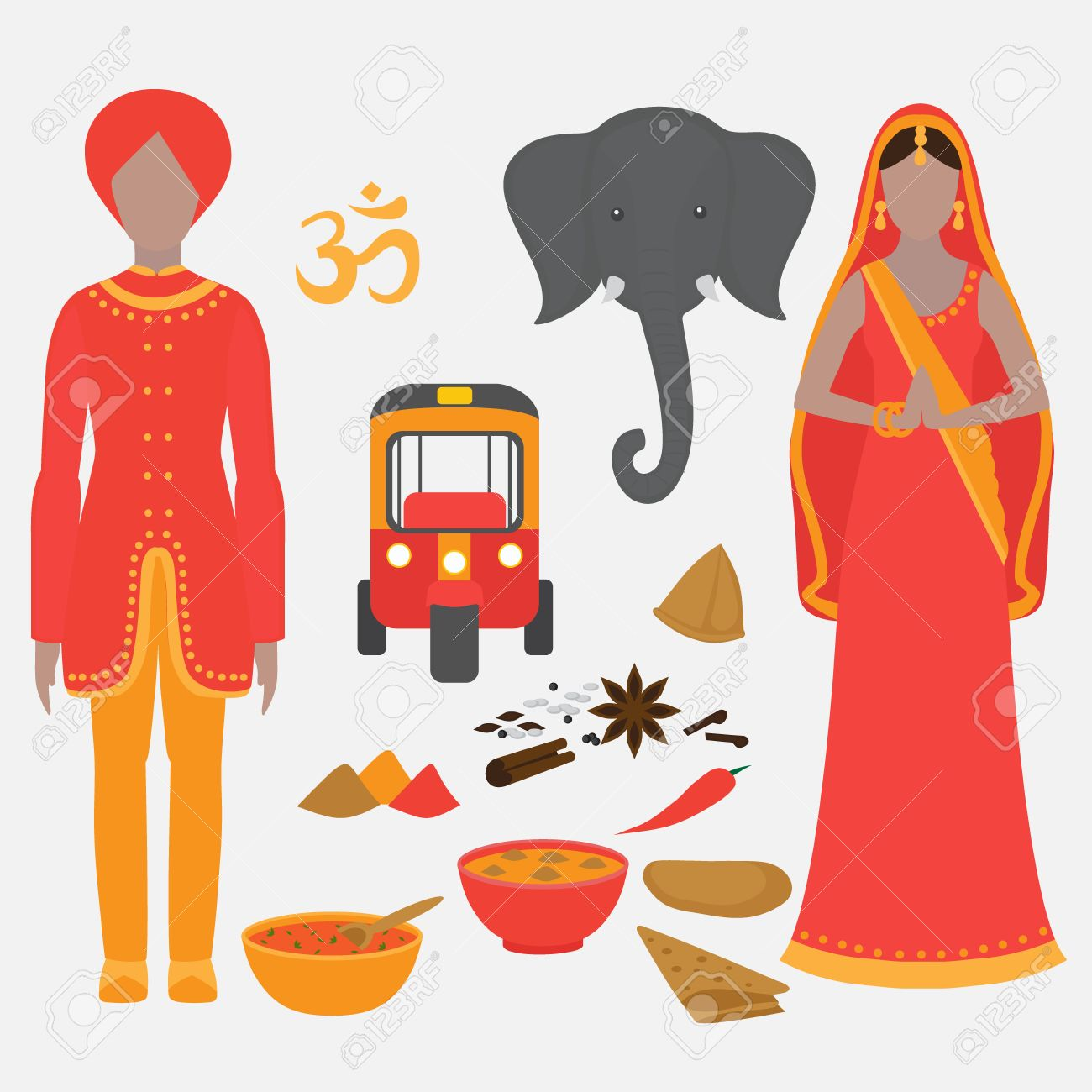 India Symbols Set Hinduism Design Elements South Asia Beautiful