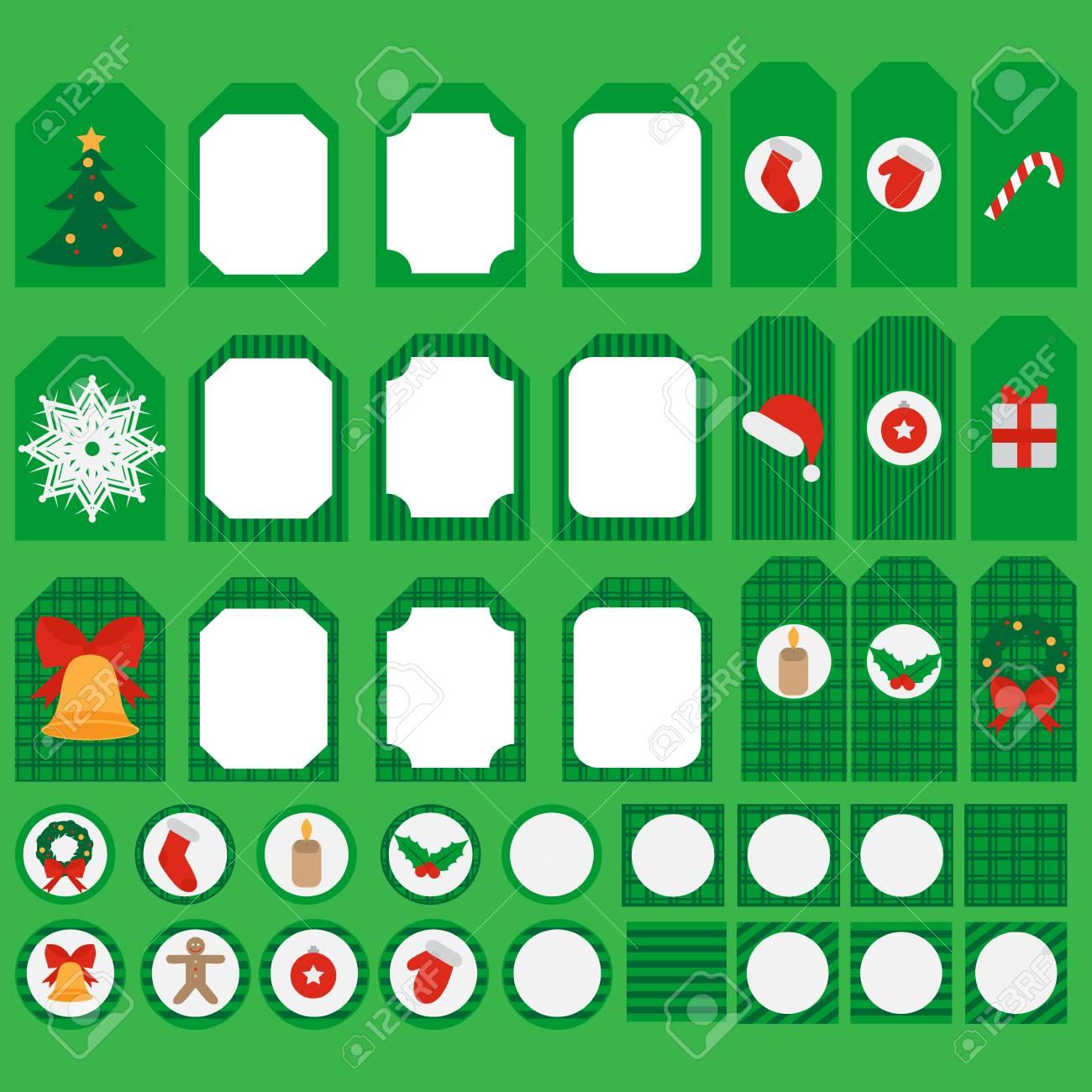 Conjunto De Elementos Para Imprimir La Fiesta De Navidad Y Año Nuevo ...