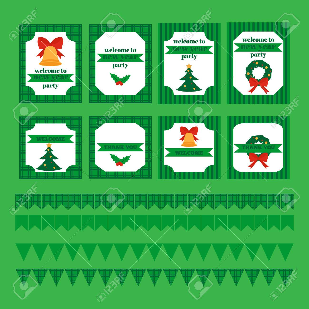 Christmas Gift Wrapper Design Printable.Printable Set Of Christmas And New Year Party Elements Templates