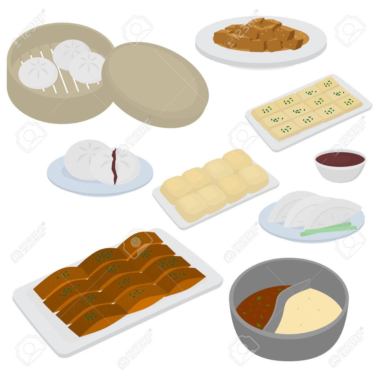 Set Of Chinese Food Flat Design Elements. Asian Street Food Menu ...