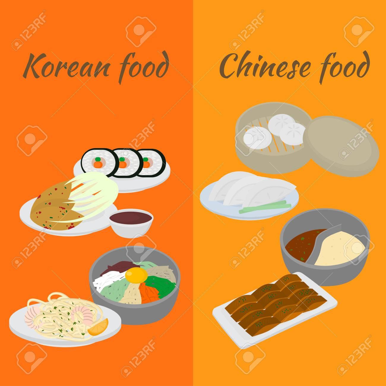 Set Von Koreanischen Und Chinesischen Essen Flachen Design-Elemente ...