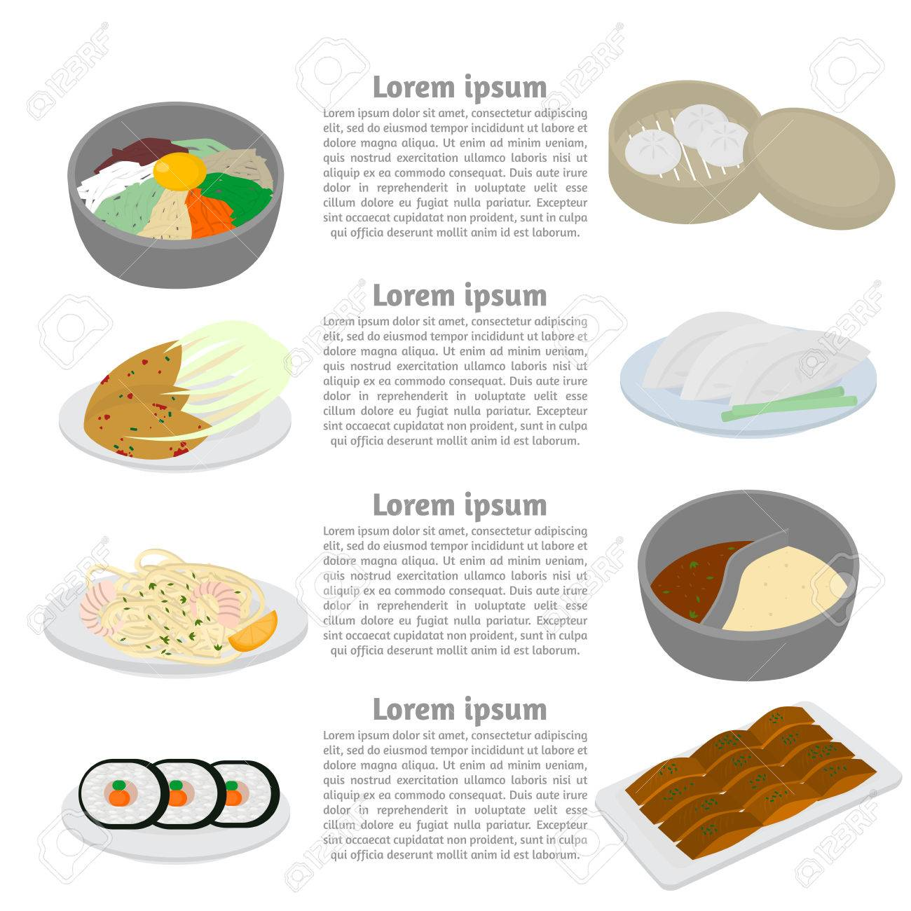 Set Of Korean And Chinese Food Flat Design Elements. Asian Street ...