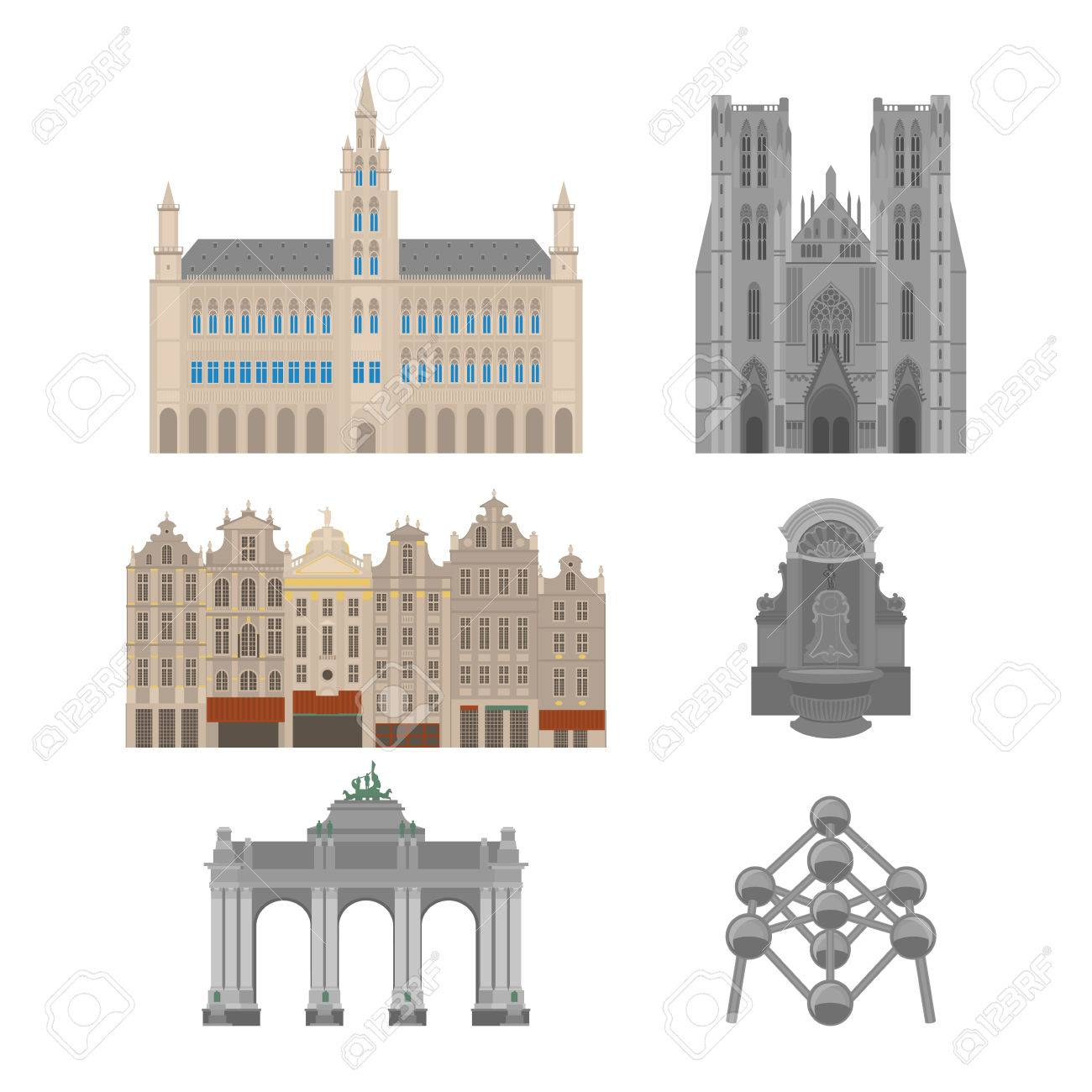City sights. Brussels architecture landmark. Belgium country flat travel elements. Famous square Grand place with Town Hall. Cathedral of St. Michael and St. Gudula. Triumphal arch. Statue of a urinating boy. - 79344412
