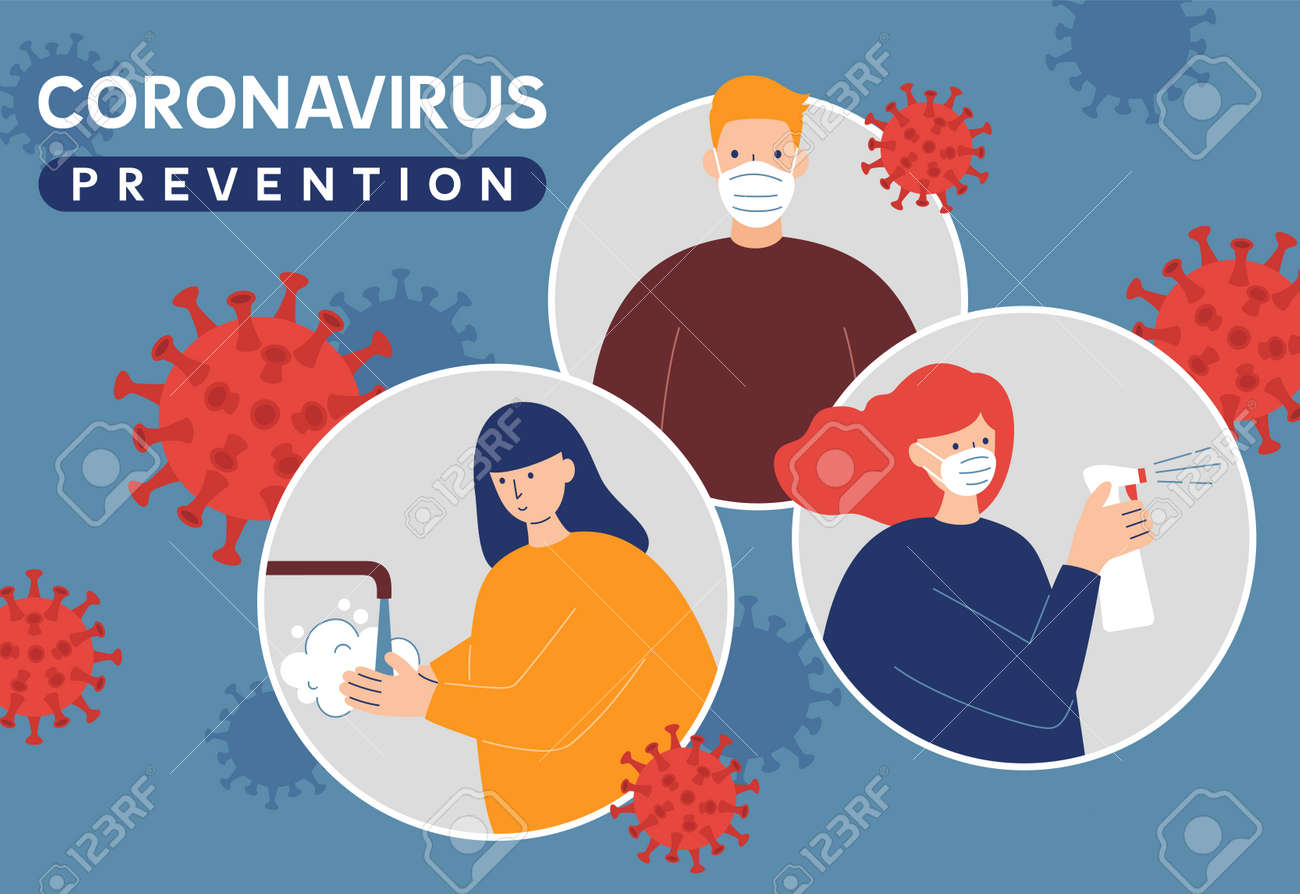 Coronavirus Covid-19 prevention instructions: wash hands, wearing face mask and sanitizing. Pandemic or epidemic vector illustration in a flat style. Cartoon characters quarantine art. - 160754324