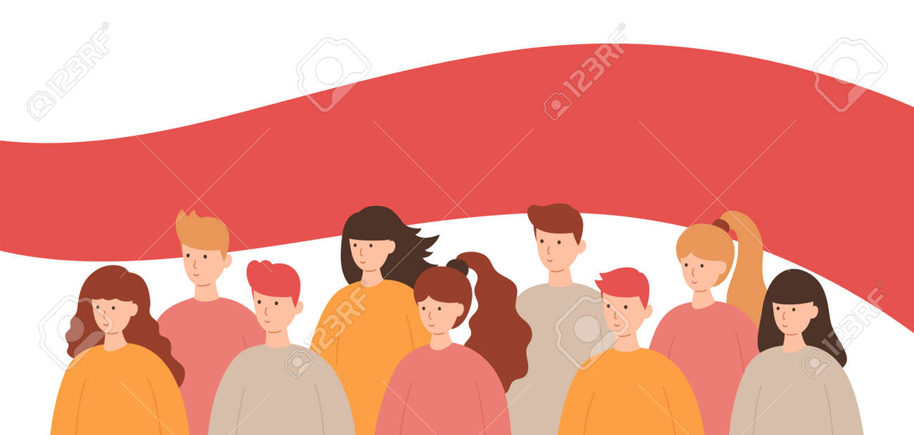 Group of people on the background of a Belarus opposition white-red-white flag. Protest from dictatorship, support for human rights. Vector illustration in a flat style. - 160754331