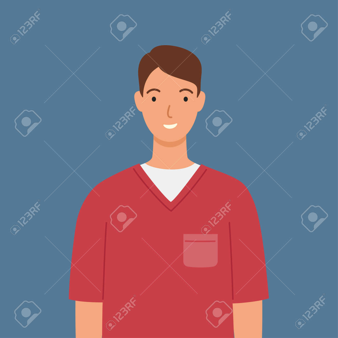 Male nurse in red medical robe. Vector illustration in a flat style. - 168597164