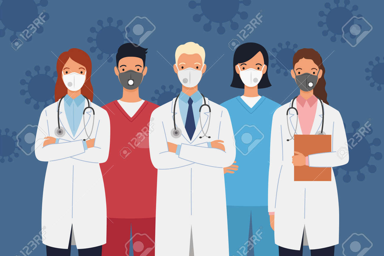 Medical staff of doctors and nurses wearing protective medical masks. Men and women doctors group. Medical team concept vector illustration in a flat style. - 168597165