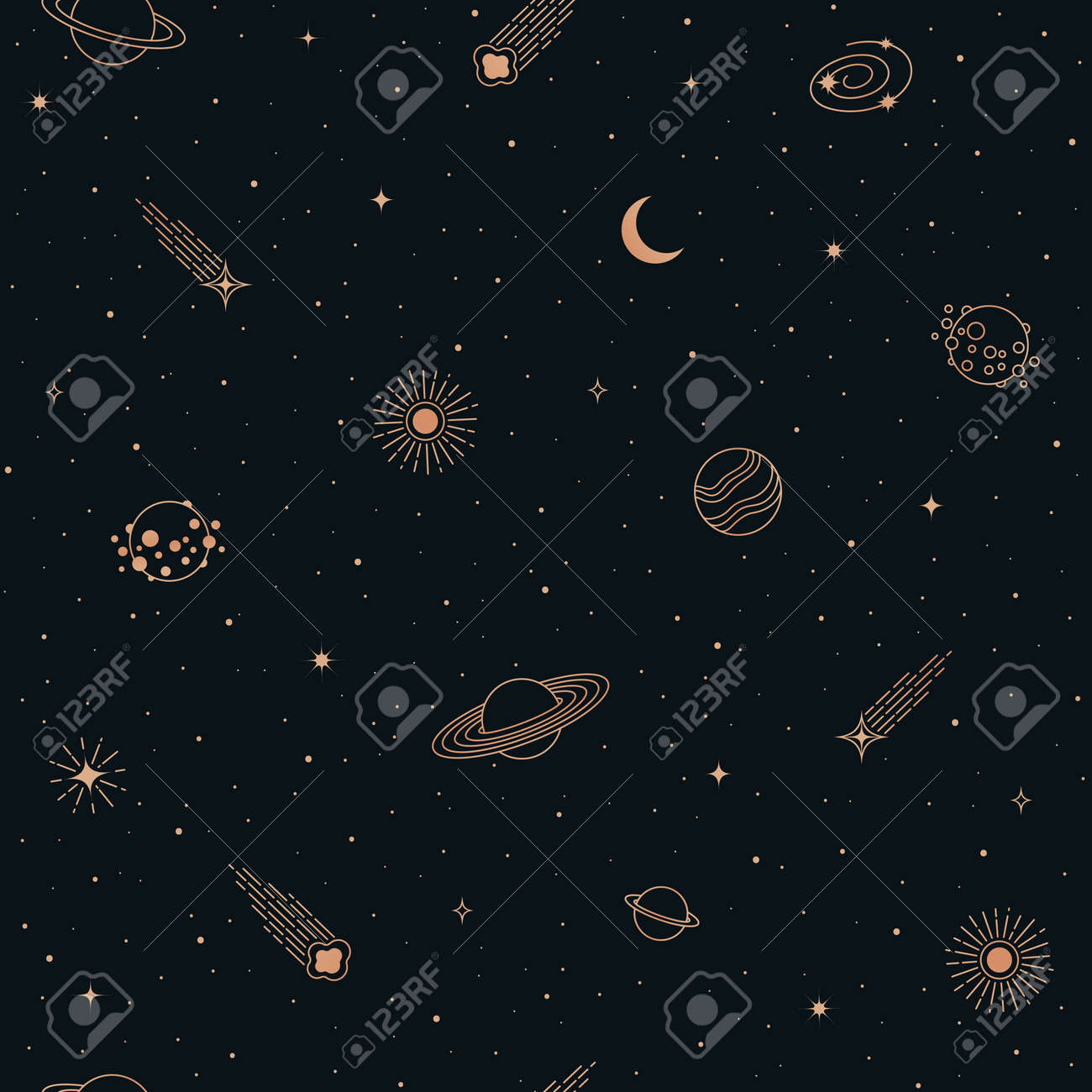 Hand drawn vector doodle seamless pattern of Space symbols and objects. Cartoon sketch background for textiles, banner, wrapping paper and other designs. - 168597232