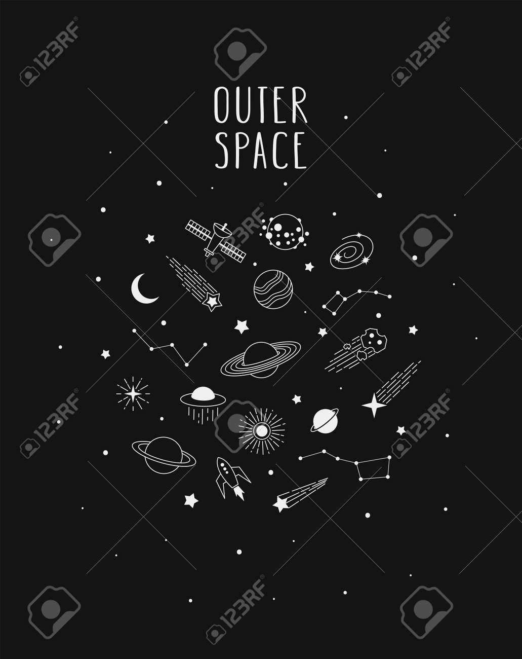 Hand drawn vector doodle of Space: planets, comets, constellations, rocket, satellite, stars and other. Nignt sky sketch illustration for t-shirt prints, posters, postcards and other designs. - 168597242