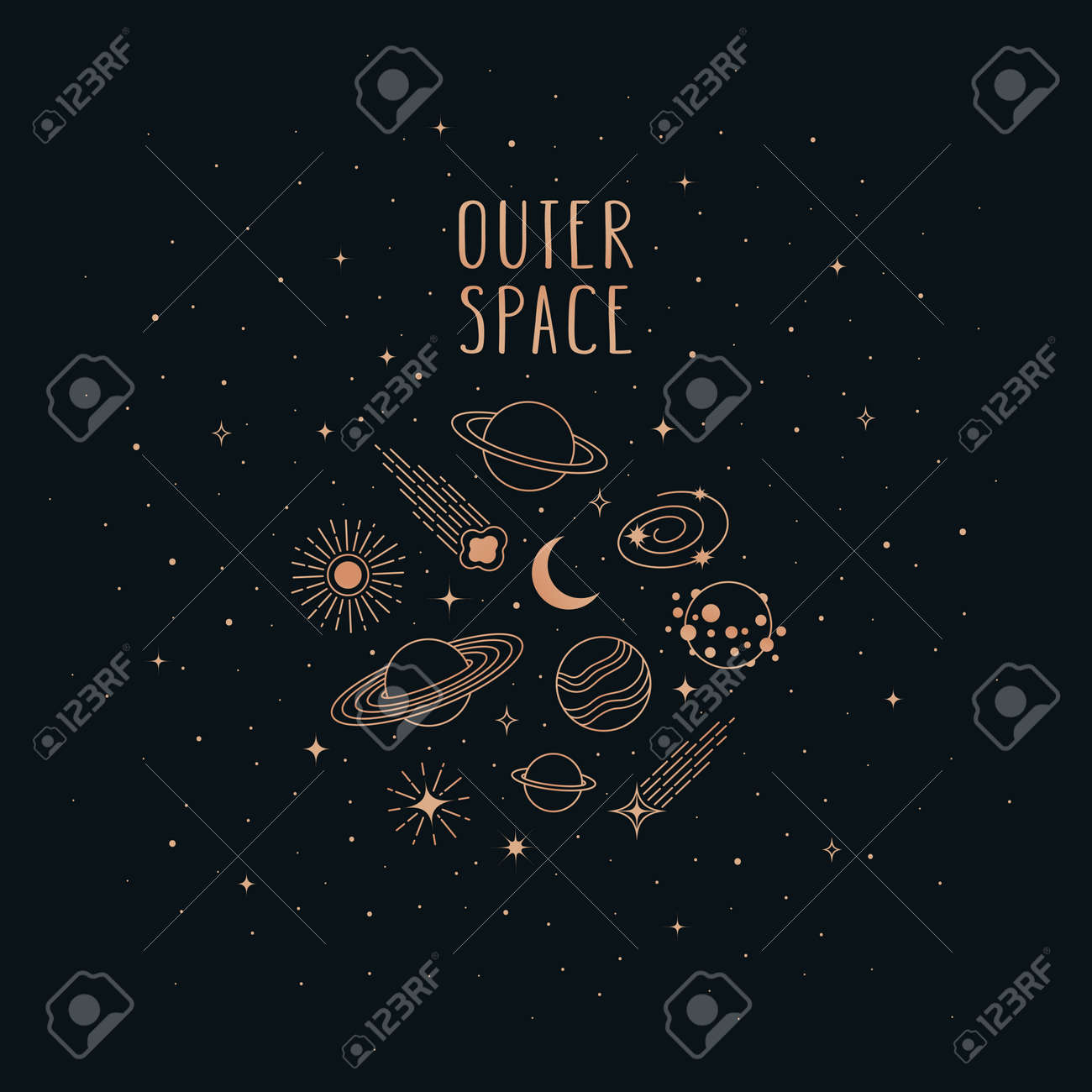 Hand drawn vector doodle of Space objects and symbols: planets, asteroids, galaxy, sun, moon and stars. Cartoon sketch background for t-shirt prints, posters, postcards and other designs. - 168597254