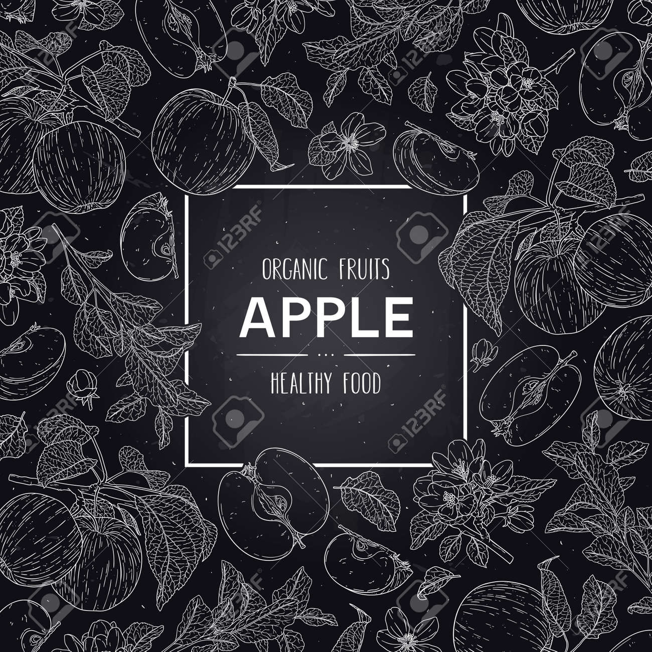 Vector hand drawn fruits frame with organic apple, half, flower, branch and leaves. Healthy doodle sketch illustration in chalkboard style. - 168597262