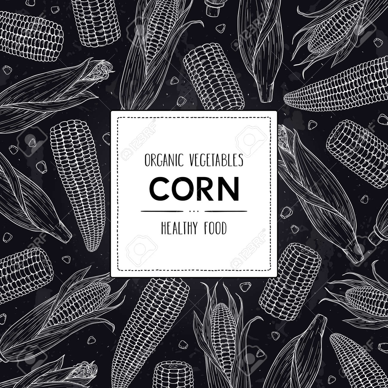 Vector hand drawn doodle frame with organic corn cobs, grain and label. Healthy sketch cereal illustration in chalkboard style. - 168597305