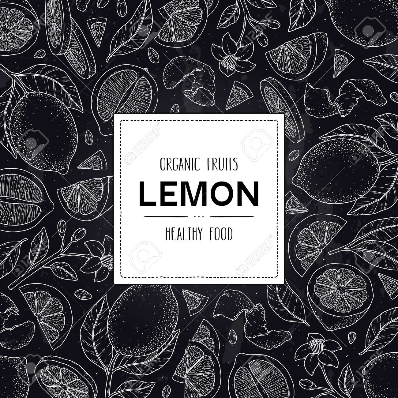 Vector chalkboard style frame with organic whole lemon, slices pieces, half, seed, flower, leaves and label. Citrus hand drawn doodle sketch illustration. - 168597338