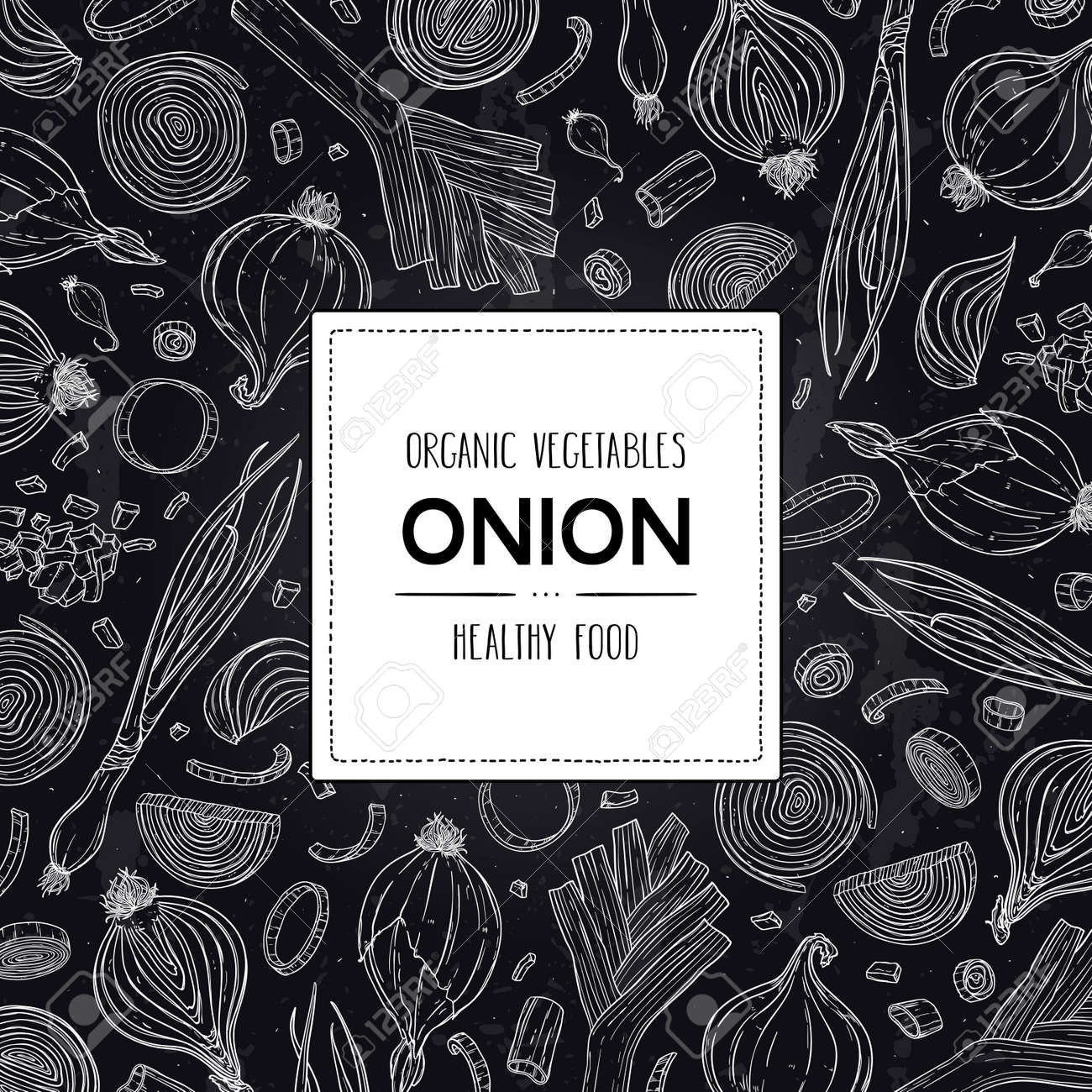 Vector chalkboard style frame with organic onion bulb, slices, halves, pieces, green onion, leek and label. Healthy hand drawn doodle sketch illustration. - 168597346