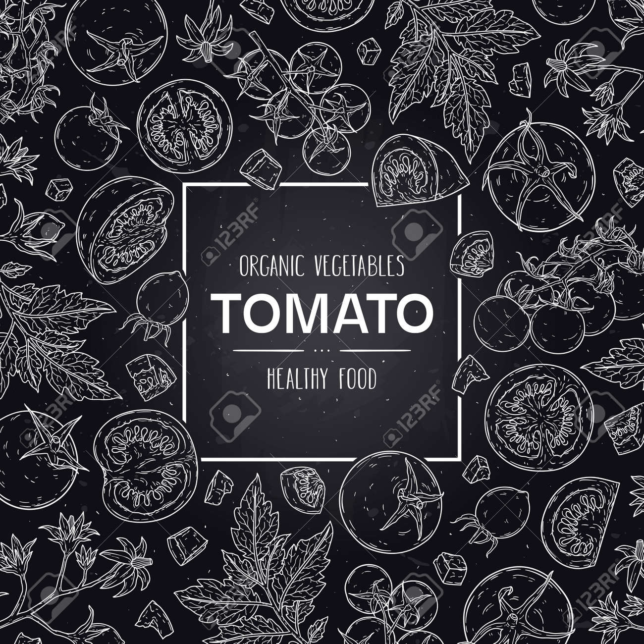 Vector hand drawn frame with organic tomatoes, slices, half, flower, branch with leaves and cherry tomatoes. Healthy doodle sketch illustration in chalkboard style. - 168597399