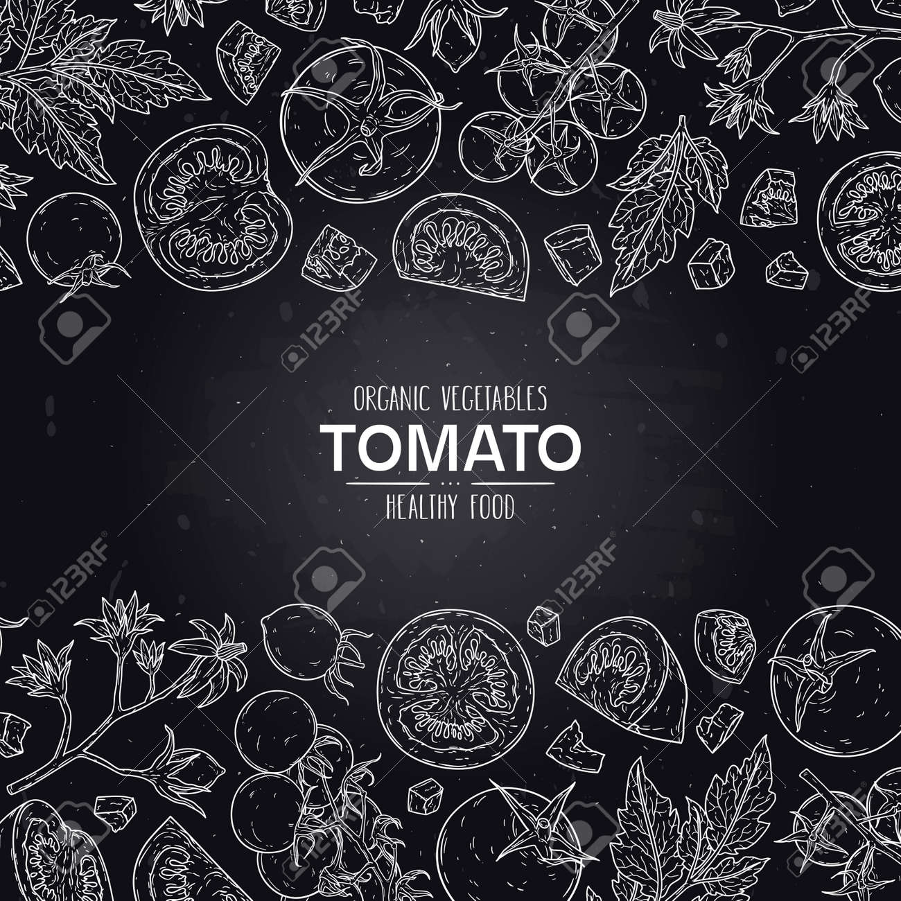 Vector hand drawn frame with organic tomatoes, slices, half, flower, branch with leaves and cherry tomatoes. Healthy doodle sketch illustration in chalkboard style. - 168597402