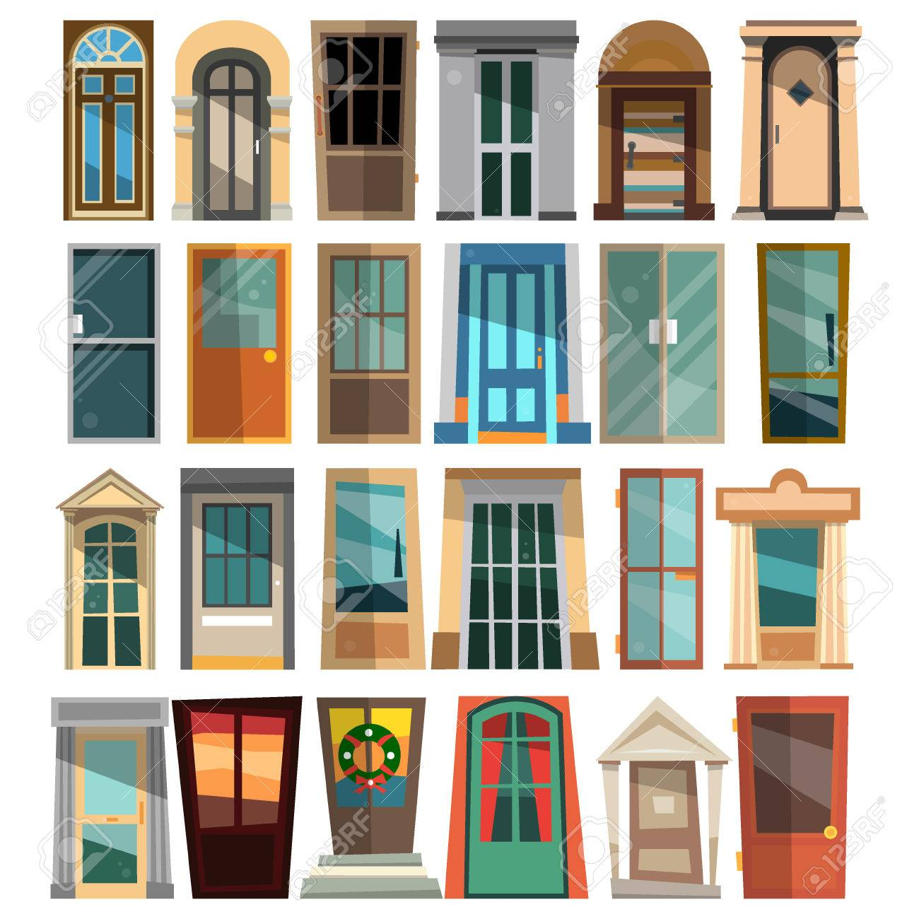 Set of beautiful front doors in flat style for homes and buildings vector illustration isolated