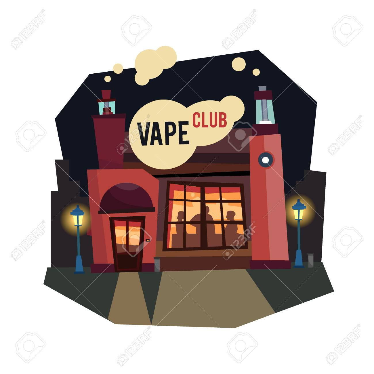 Vape club electronic cigarettes flat style with a cloud of steam