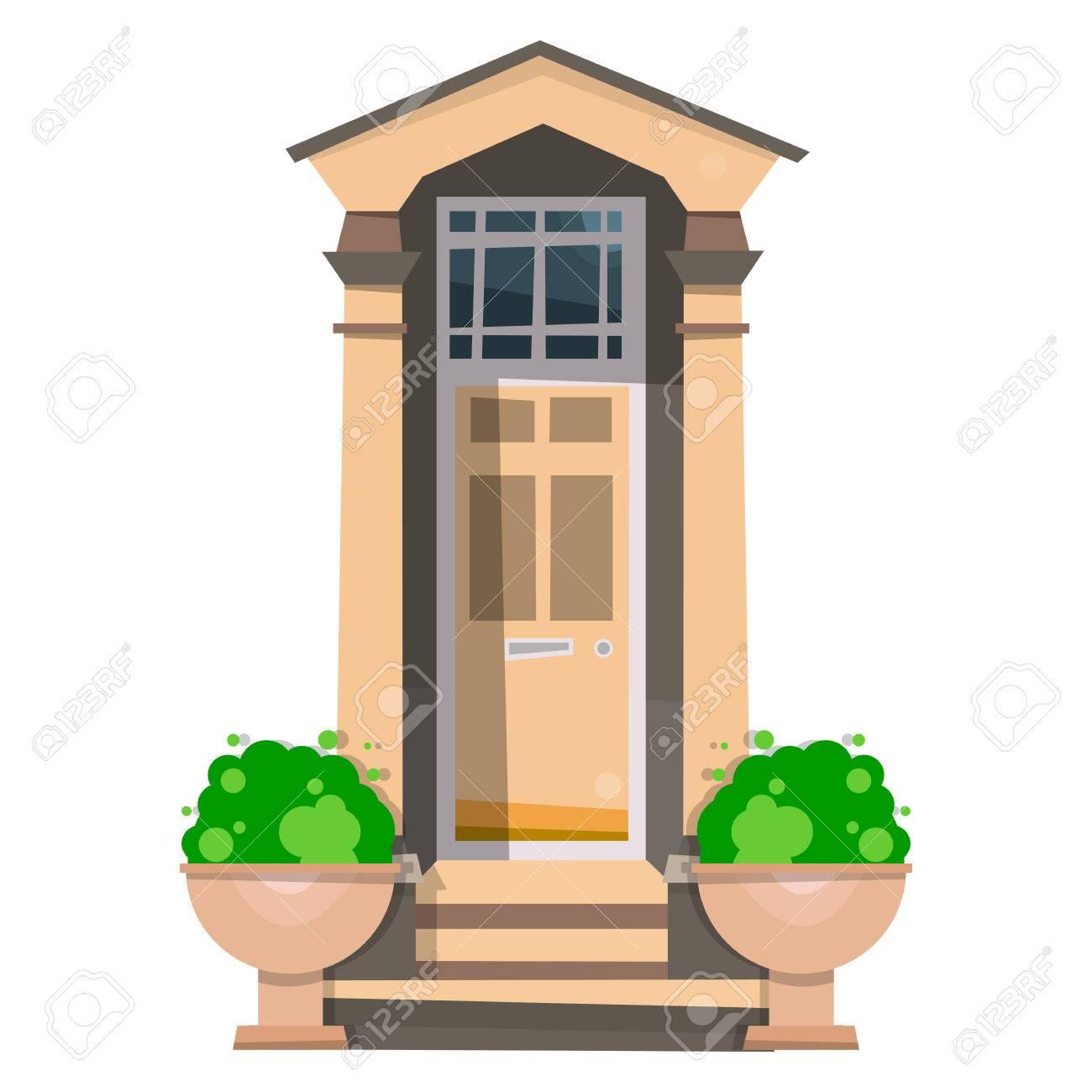 La Hermosa Puerta De Entrada Diseno De Puertas De Madera En La Casa Ilustracion Del Vector Aislado En El Fondo Blanco