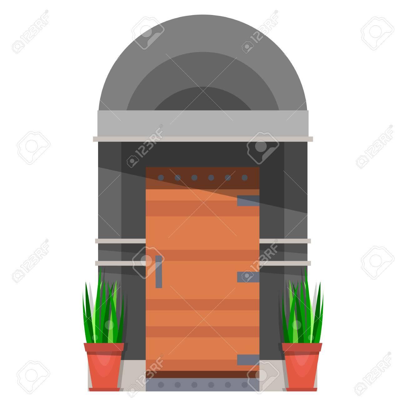 The Beautiful Front Door Design Wooden Doors In The House Vector