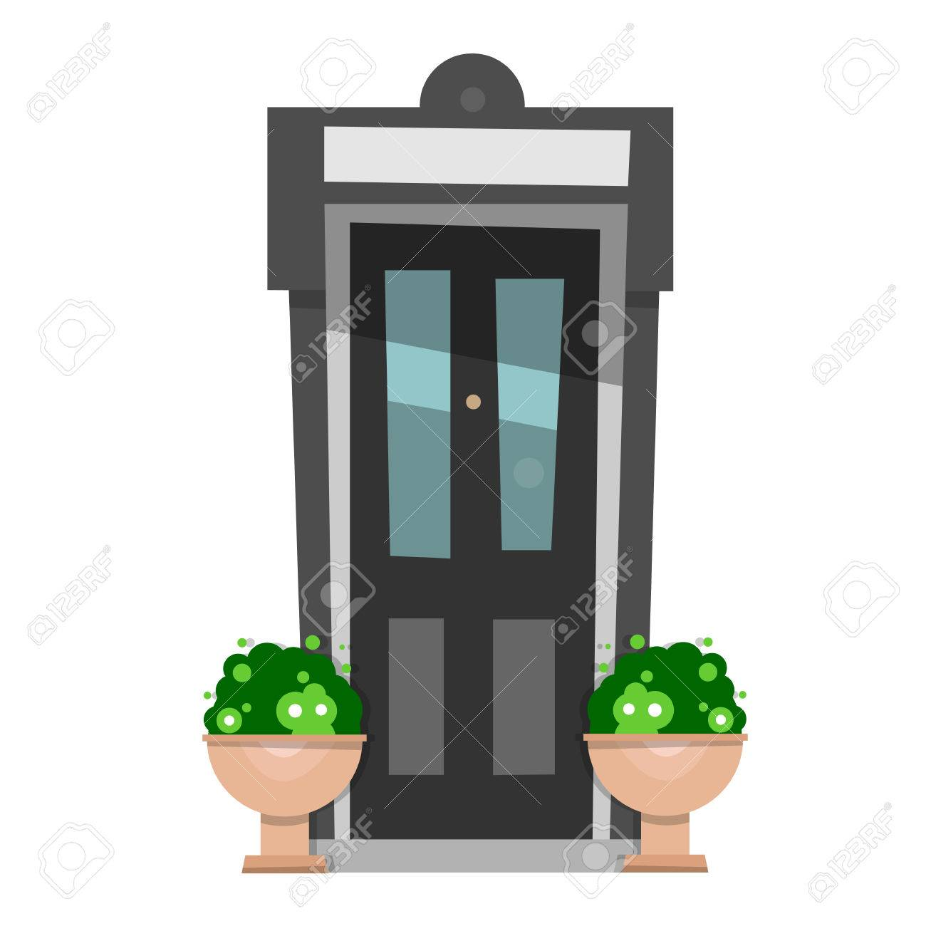 The beautiful front door design wooden doors in the house vector illustration isolated on