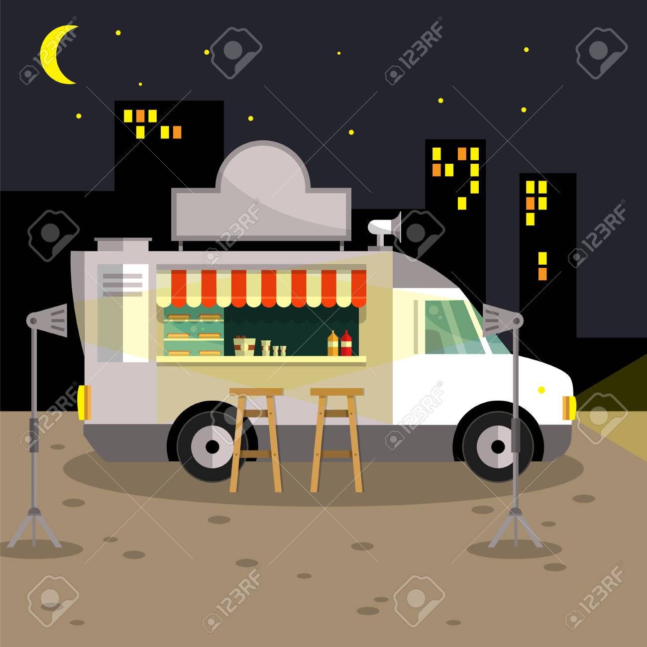 The American Hot Dog A Truck With A Kitchen Car For Sale Fast Royalty Free Cliparts Vectors And Stock Illustration Image 69194546