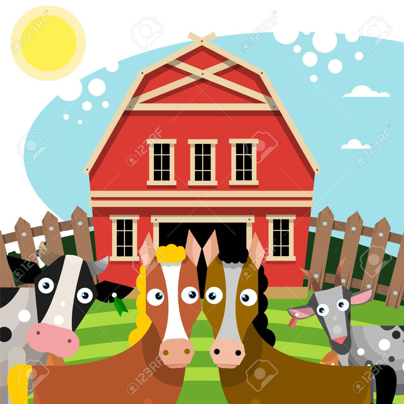 Farm Animals Near The Red Barn Vector Illustration Stock