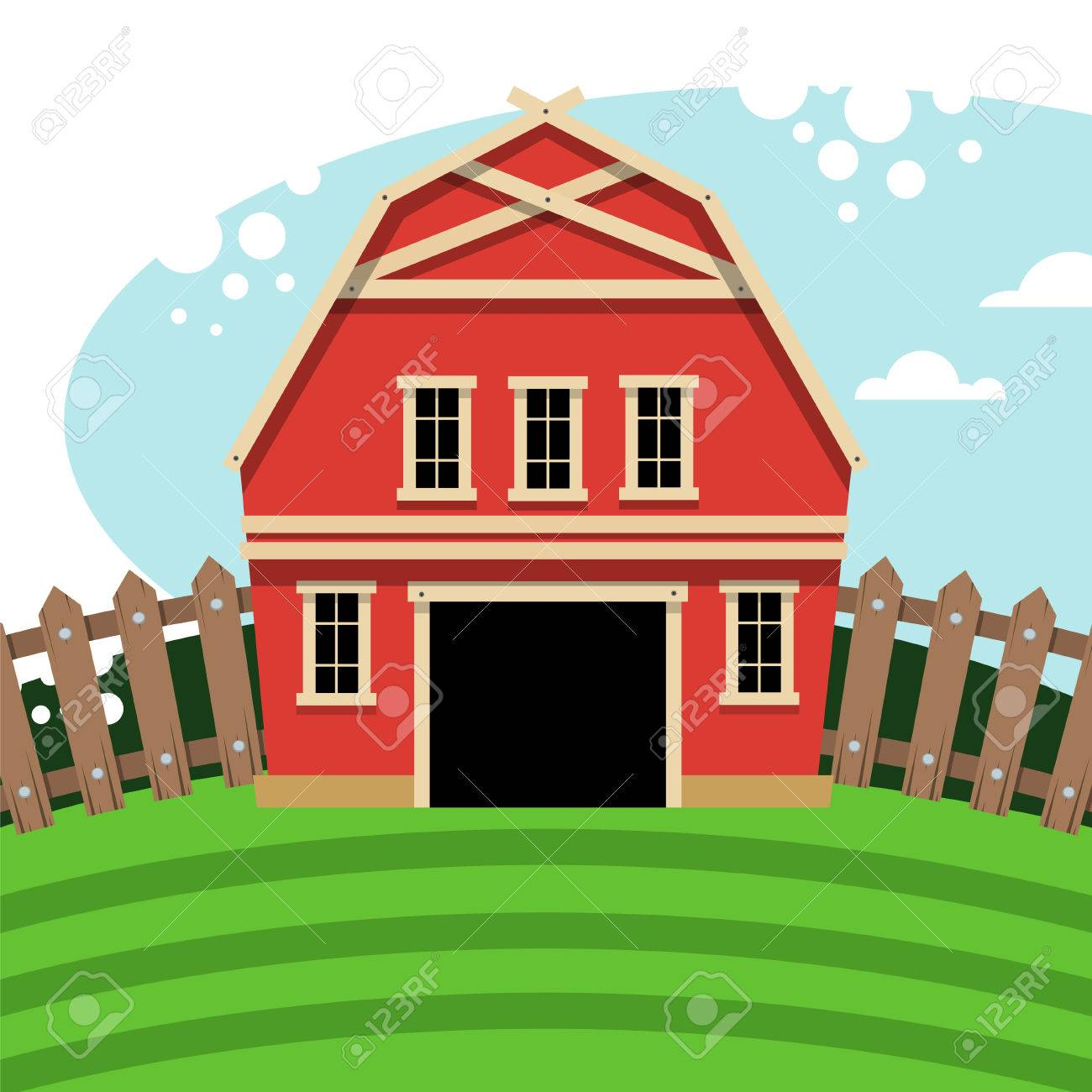 farm barn clip art. Red Farm Barn. Rural Landscape In Flat Style. Vector Illustration. Stock - Barn Clip Art
