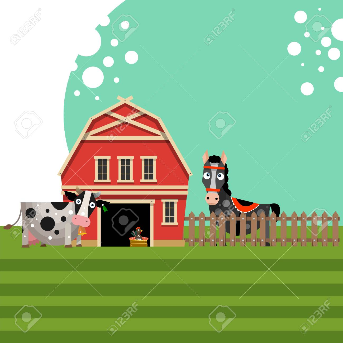 Farm Red Barn With Fence And Animals The Concept Of Rural Life