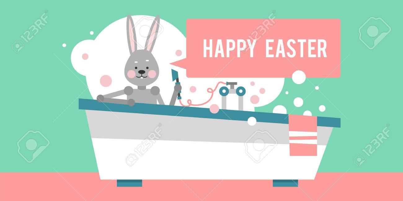 Frohe Ostern. Cartoon-Kaninchen Sitzt Im Bad. Vorlage Für ...